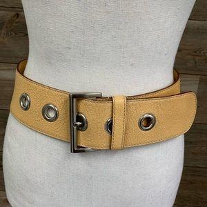 PRADA Leather Buckle Belt tan silver tone S